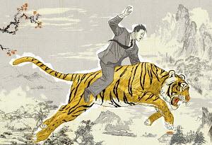 Businessman on tiger