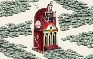Money printing machine producing lots of dollars