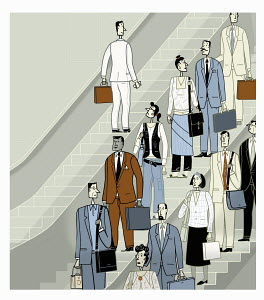 Group of businesspeople moving down escalator with single businessman moving up