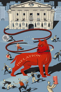 Red inflation hound frightening people