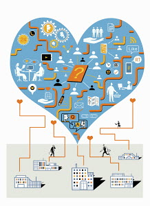 Company buildings connected to people communicating in heart