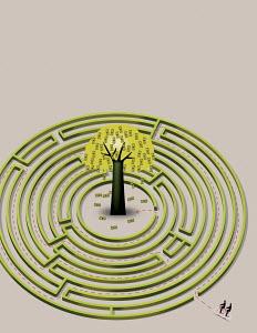 Two men on bicycle riding through maze towards money tree