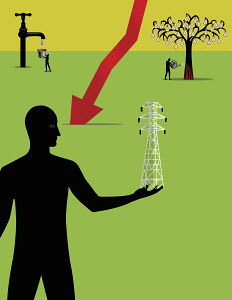 Silhouette of man holding transmission line with water tap and light bulb tree in background