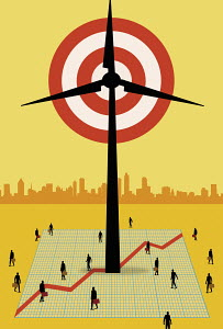Target in wind turbine with businesspeople people below