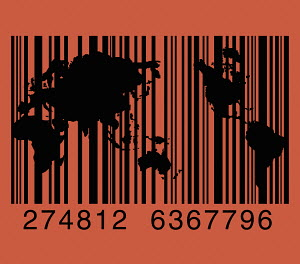 Barcode above world map