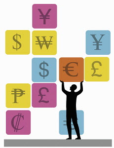 Man lifting Euro symbol surrounded by other currency symbols