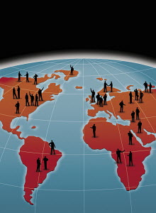 People on world map communicate from continent to continent