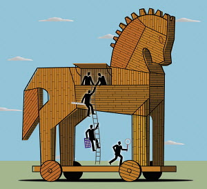 Businessmen leaving Trojan horse