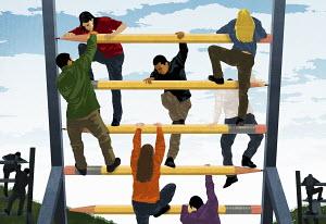 Young men and women climbing on climbing wall