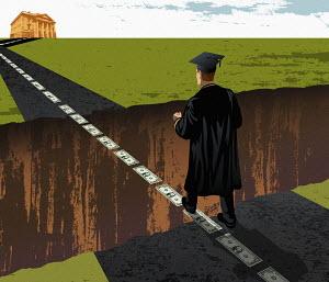 Graduate walking on dollar bills over crevice