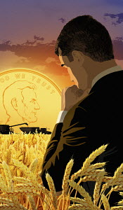 Thoughtful businessman in cornfield with dollar sunset