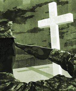 Soldier saluting towards Christian cross