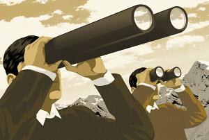 Two men looking through binoculars in different size