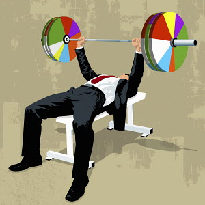 Businessman lifting pie chart barbell