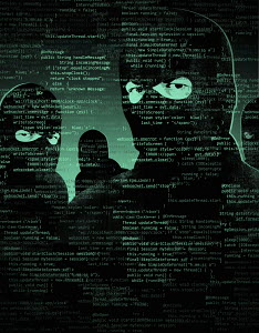 Men wearing balaclavas behind computer code