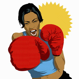 Portrait of aggressive female boxer