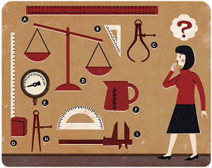 Woman with question mark looking at different measuring devices