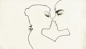 Outline of a couple kissing