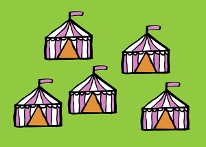 Five tents on green background