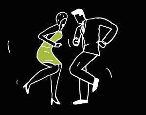 Outline of dancing couple