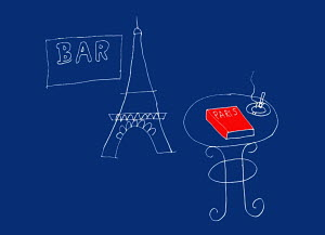 Eiffel Tower, bar sign and cigarette and guidebook of Paris on table