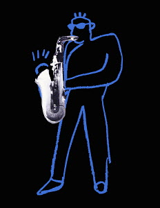 Outline of musician playing saxophone