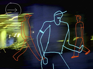 Outline of teenagers in motion with light trail