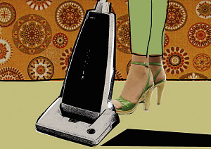 Close-up of woman in high heels vacuum cleaning