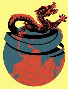Asian dragon emerging from globe