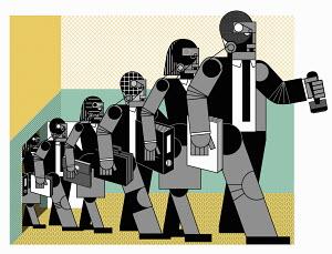 Robot like office workers walking in row
