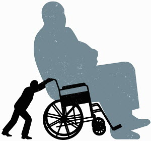 Small person pushing large person in wheelchair