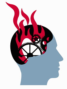 Cogwheels and fire inside man's head