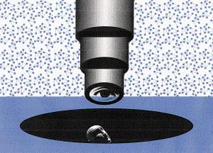 Person under a microscope