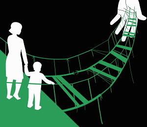 Hand supporting dilapidated rope bridge with mother and son at the edge