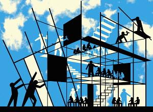 Teachers constructing school building