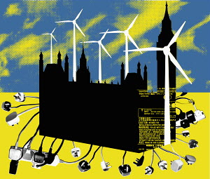 Wind turbines, plugs and sockets around Palace of Westminster
