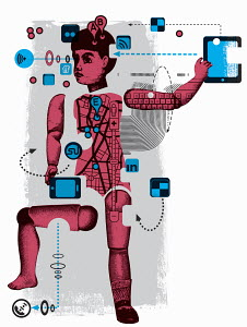 Boy figure surrounded by technology