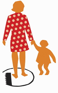 Mother standing in circle holding daughter's hand