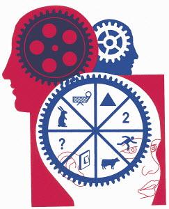 Cogwheel with different symbols inside head