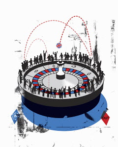 People standing around roulette wheel with Union Jack ball between in and out
