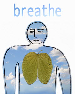 Person with green leaf lung breathing