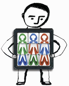 Man holding cube with multicolored figures