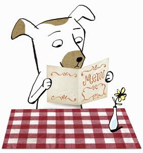 Dog in restaurant reading menu