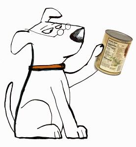Dog reading pet food label