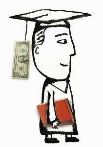Dollar bill dangling from mortar board of graduate