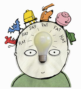 Child with light bulb and rhymes in his head
