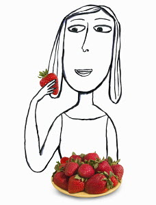 Woman with plate full of strawberries