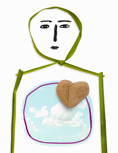 Person with stone heart and cloudy sky inside torso