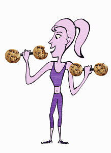 Woman lifting dumbbells with cookies