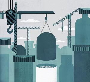 Cranes building up large medicine